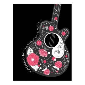 Geweldige koele leuke trendy bloeit girly gitaar briefkaart