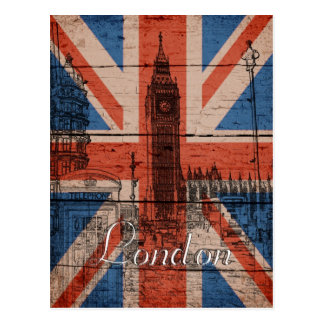 Geweldige koele trendy oude houten grunge Britse Briefkaart