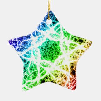 geweldige regenboogbliksem keramisch ster ornament