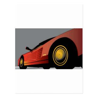 Geweldige rode auto briefkaart