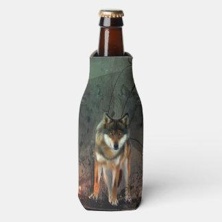 Geweldige wolf op vintage achtergrond flesjeskoeler