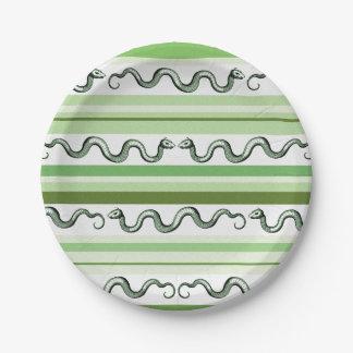 Geweven Groene en Witte Slangen en Strepen Papieren Bordje