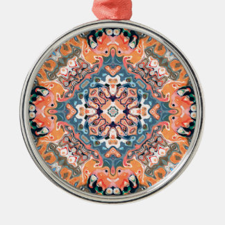 Geweven Patroon Mandala Zilverkleurig Rond Ornament