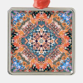 Geweven Patroon Mandala Zilverkleurig Vierkant Ornament