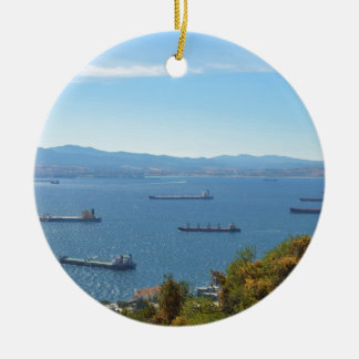 Gibraltar Anchorage van hierboven Rond Keramisch Ornament