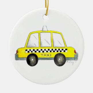 Gift van de Cabine van de Stad van de taxi NYC de Rond Keramisch Ornament