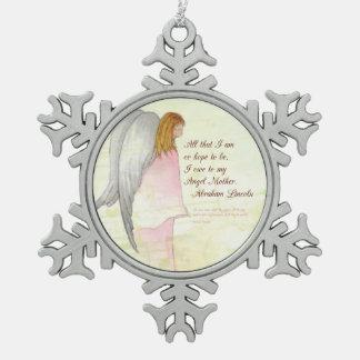 Gift van de Engel van het moederdag de Tin Sneeuwvlok Ornament