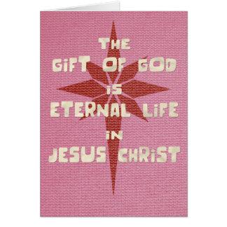 Gift van de Kerstkaart van de God (Roze/Rood) Kaart