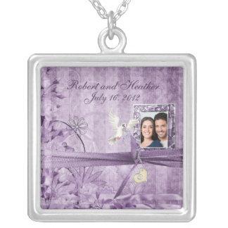 Gift van het Huwelijk van de Foto van de Vintage Zilver Vergulden Ketting