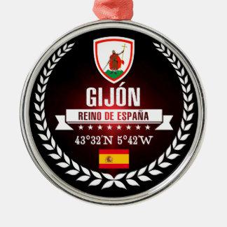 Gijón Zilverkleurig Rond Ornament