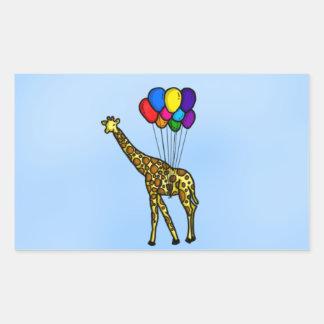 Giraf door Ballons wordt gedragen die Rechthoekige Sticker