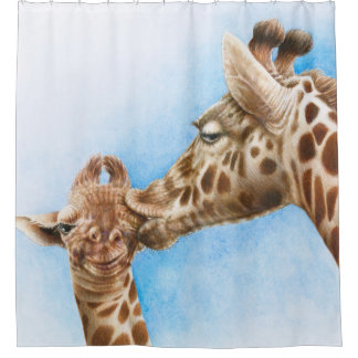 Giraf en Kalf Douchegordijn