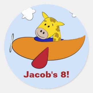 Giraf in de Kinder Verjaardag van het Vliegtuig Ronde Sticker