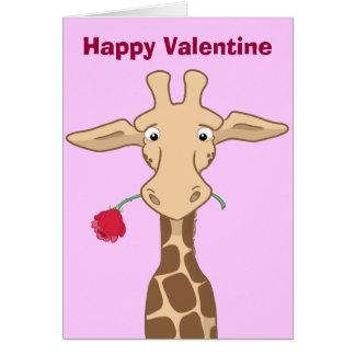 Giraf met een Roze Kaart van Valentijn