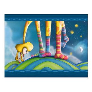 Giraf met Gestreepte Sokken Briefkaart