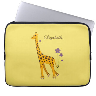 Giraf van de Cartoon van de Naam van de douane de Laptop Sleeve