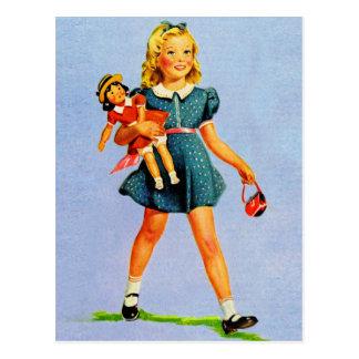 Girl van het Vintage Kind van de Kinderen van de Briefkaart