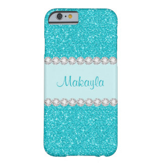 Girly Aqua schittert iPhone 6 van Fonkelingen Barely There iPhone 6 Hoesje