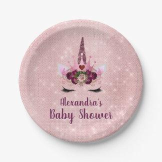 Girly bloost het Roze Baby shower van de Eenhoorn Papieren Bordje