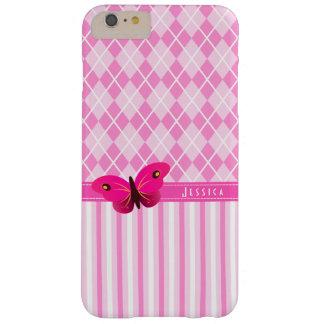 Girly Mooie Roze Argyle en de Vlinder van Strepen Barely There iPhone 6 Plus Hoesje