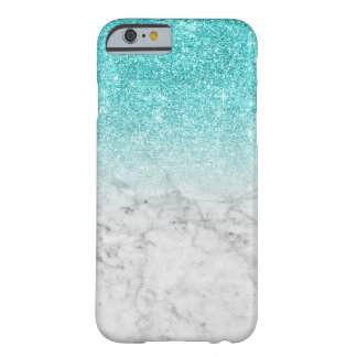 Girly Trendy Faux Aqua schittert Marmer Barely There iPhone 6 Hoesje