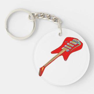 gitaar elektrische multi gekleurde red.png 2-Zijde ronde acryl sleutelhanger