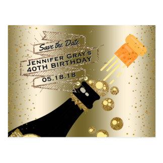 Glam Gouden Champagne bewaart de Datum Elegante Briefkaart