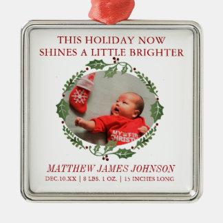 Glans de Heldere Pasgeboren Aankondiging van de Zilverkleurig Vierkant Ornament