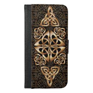 Glans het Keltische patroon van de Knoop op Zwarte iPhone 6/6s Plus Portemonnee Hoesje