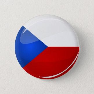 Glanzend Rond Tsjechisch Rep. Vlag Ronde Button 5,7 Cm