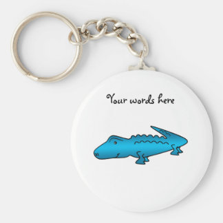 Glanzende blauwe alligator sleutelhanger