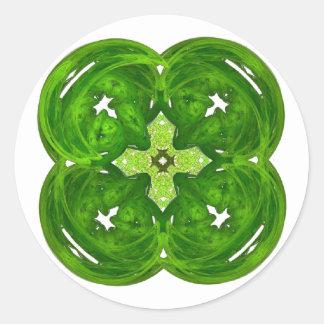 Glanzende Fractal Kunst Vier de Klaver van het Ronde Stickers