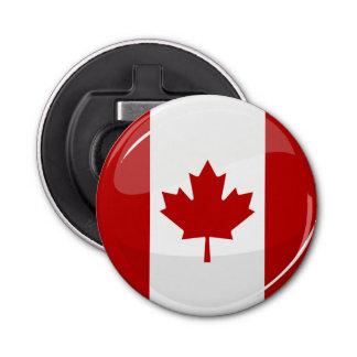 Glanzende Ronde Canadese Vlag Button Flesopener