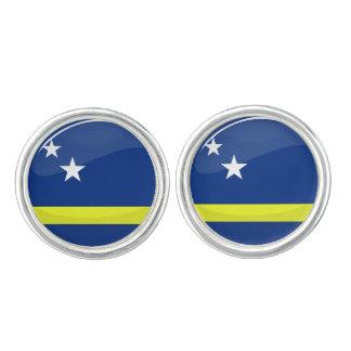 Glanzende Ronde Curacao Vlag Manchetknopen