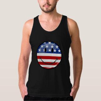 Glanzende Ronde die Amerikaanse Vlag glimlachen T Shirt