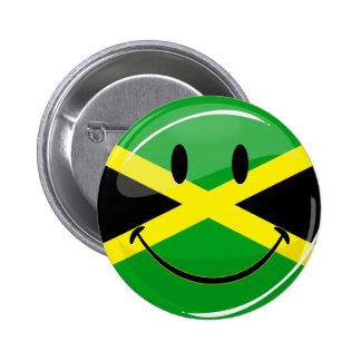 Glanzende Ronde die Jamaicaanse Vlag glimlachen Ronde Button 5,7 Cm