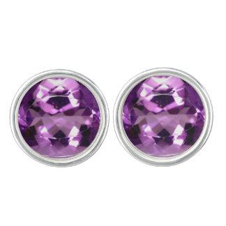 Glanzende violette van Violetkleurig birthstone Manchetknopen