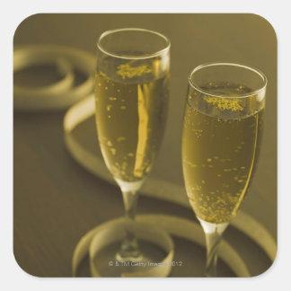 Glazen champagne vierkante sticker