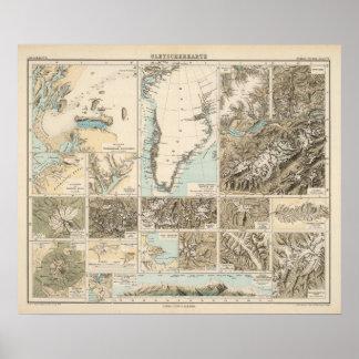 Gletscherkarte - de Kaart van de Atlas van de Glet Poster
