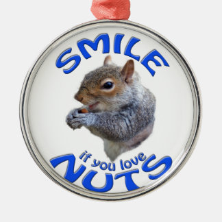 glimlach als u van noten houdt zilverkleurig rond ornament