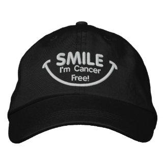 Glimlach ben ik het Vrije Wit van Kanker Geborduurde Pet