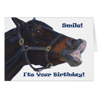 Glimlach!  Het is Uw Verjaardag! Paard Kaart