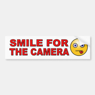Glimlach voor de Camera met grappig smileygezicht Bumpersticker