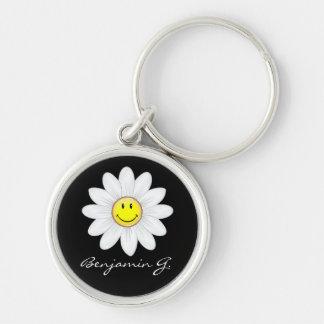 Glimlachende Daisy Flower Sleutelhanger