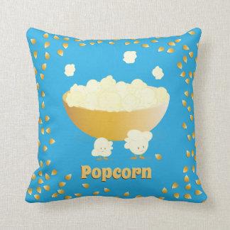 Glimlachende Popcorn en Kom | werpen Hoofdkussen Sierkussen