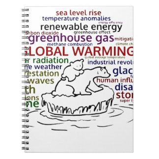Globale Verwarmende effecten Ijsbeer en welp Ringband Notitieboek