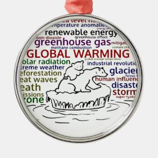 Globale Verwarmende effecten Ijsbeer en welp Zilverkleurig Rond Ornament