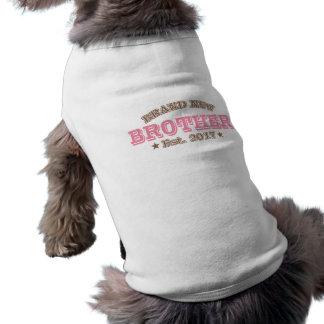 Gloednieuwe Broer Est. 2017 (Roze) Mouwloos Hondenshirt