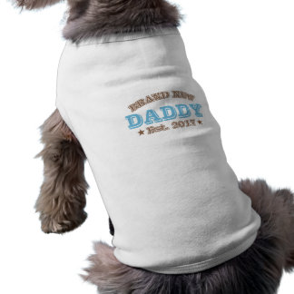 Gloednieuwe Papa Est. 2017 (Blauw) Mouwloos Hondenshirt