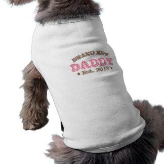Gloednieuwe Papa Est. 2017 (Roze) Mouwloos Hondenshirt